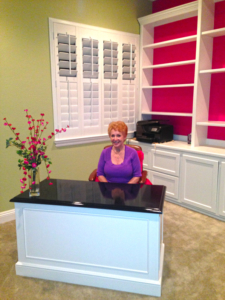 Custom-designed office, bookcases, desk and shutters - and HAPPY CUSTOMER!