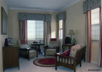 Mission Style Living Room: Custom window treatments, area rug, re-upholstered furniture.