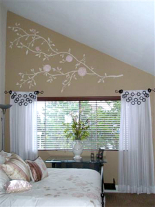 Custom Wall Art to match floral pattern of bed cover, Custom Window Treatments.
