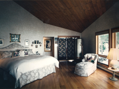 Customer desired bed designed to emulate Actress Winona Rider's bed as seen in Architect Digest magazine May 1994. Faux painted walls, chaise upholstered to coordinate with bed.