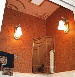 Animal Print Wallpaper, Palm Branches Painted on Ceiling and Back Wall.