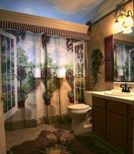 Tromploi Shower Curtain with Awning attached to large Crown Molding. Mural Painted Purple Shutters, Sky, and Floral Area Rug.