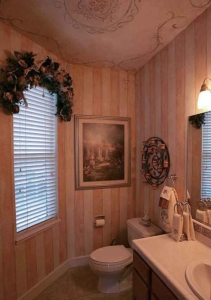 Pink & Cream Stripe painted walls w/painted Scroll & Floral Medallion on ceiling. Custom-made Floral Window Spray.