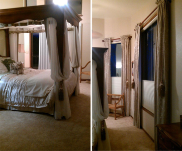 Canopy Bed, coordinating side panel window treatments.