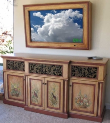 Custom Built TV Cabinet for Flat Screen TV w/ Faux Crackled Finish & Hand-Painted Murals.