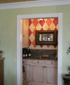 Dining Room Bar Area: Painted Harlequin pattern with crackle finish on cabinetry; walls painted green Stria finish.