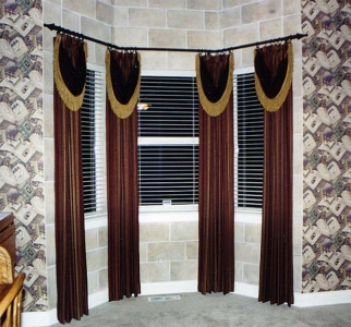 Faux Painted Stone Walls behind Drapes.