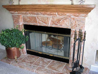 Fauxing on Living Room Fireplace and Mantel.