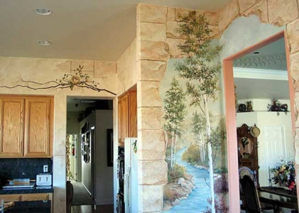 Faux Finished Walls & Murals: Branch w/Nest over Door & River Scene.