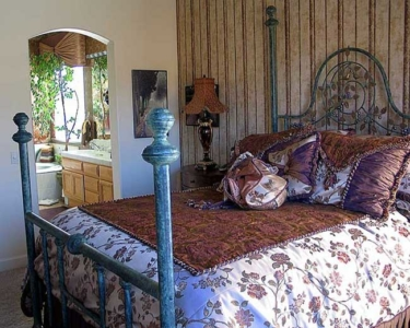 Custom-made Iron Bed, Bed Ensemble, Window Treatments, Ceiling Mural & Fireplace.