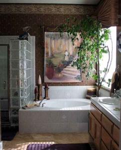Glass Block Shower, Painted Mural Tapestry w/ Rod & Tassel, Cornice Box.