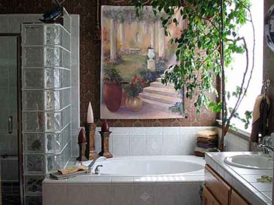 Glass Block Shower, Painted Mural Tapestry w/ Rod & Tassel, Cornice Box.