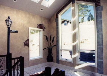 """Faux Finished Walls, """"French Quarter"""" Mural on Walls, around Windows."""