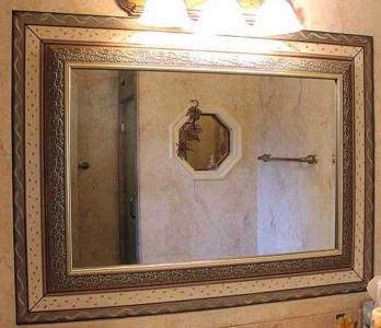 Custom, Hand-Painted Border around Mirror.