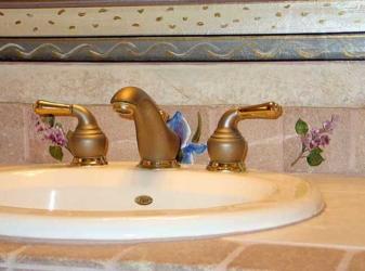 Hand-painted Border around Bathroom Mirror and Hand-Painted, Custom Tiles.