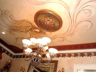 Custom, Hand-Painted & Hand Beaded Mural on Dining Room Ceiling.