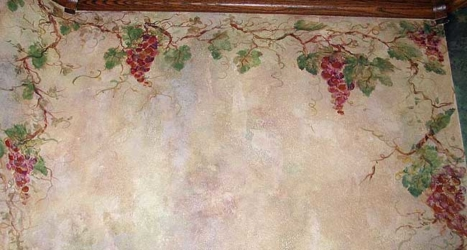 """""""THE LOOK OF TUSCANY"""" – Faux Finished Wall w/ Grape Mural."""
