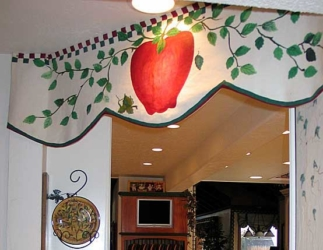 Custom Hand-Painted Kitchen Valance Mural.