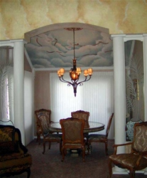 Mural on Ceiling over Dining Room Table.