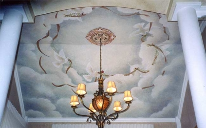 Close up of Mural on Ceiling over Dining Room Table.