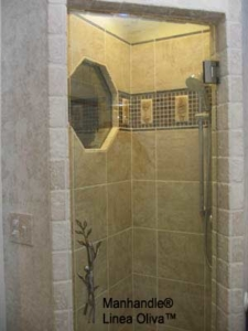 Frameless Shower Door with custom-made Man Handle, Octagon Window.