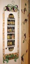 Spice Rack: Hand-Painted Faux Brick Border & Grape Vines.