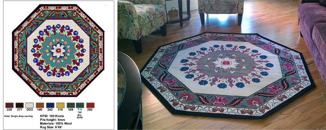 Left: Rendering of Custom Tibetan area rug design, from Nepal. Right: Finished Product was matched to living area furniture.