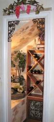 Wine Nook: Faux Brick Work, Grape Murals & Wine Fountain.