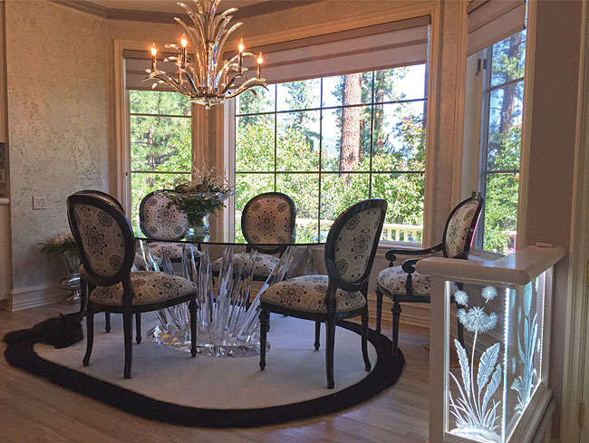 Crystal Chandelier With Custom Made Dining Room Table And Area Rug Re Upholstered Chairs